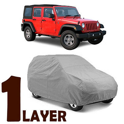 TRUE 1 LAYER GRAY FITTED SUV COVER OUTDOOR WATER SUN RESISTANT for JEEP WRANGLER