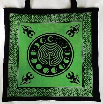 MOON PHASE SHOPPING TOTE BAG - Wicca Pagan Witch Goddess Goth Punk Green Bag