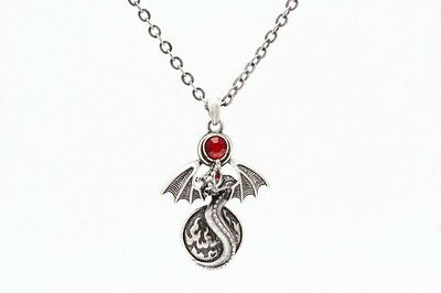 Alchemy Dragon With Gem. Necklace Pendant.pewter Jewelry Cool