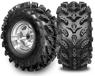 """Set Of 4 Swamp Light Tires 2 27X10-12 And 2 27X12-12 6 Ply Swamplit Mud 27"""""""