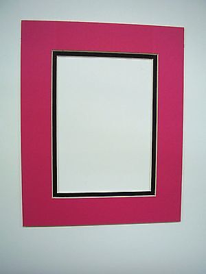 Picture Mat Double Mat 11X14 for 8x10 photo Hot Pink with Black liner