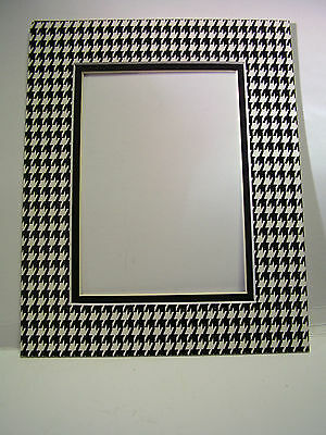 Picture Mat Double Mat 11x14 for 8x10 photo Houndstooth Check Black and White