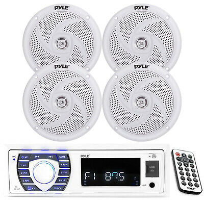 Brand New White Marine Boat Yacht In Dash MP3 Radio Stereo System & 4 Speakers