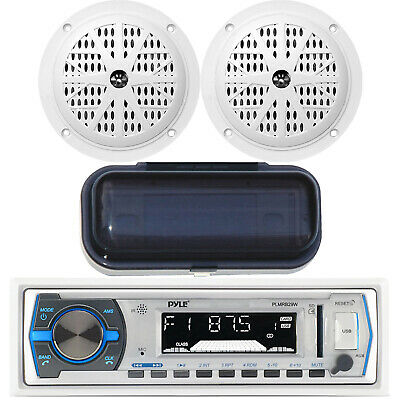 New Marine Boat Indash AM/FM MP3 USB SD AUX iPod Input Stereo 2 Speakers + Cover