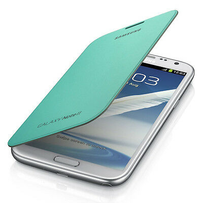 New Official Samsung Galaxy Note 2 Ii Flip Cover Case In Mint Blue 1J9Fmeg