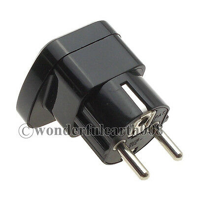 Type F Schuko Germany Electrical Power Plug Adapter, With Safety Shutter