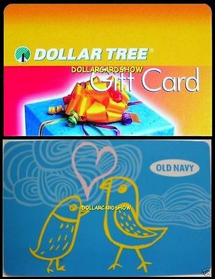 2x OLD NAVY BLUE BIRD USA $1 DOLLAR TREE ALL DAY LONG COLLECTIBLE GIFT CARD LOT