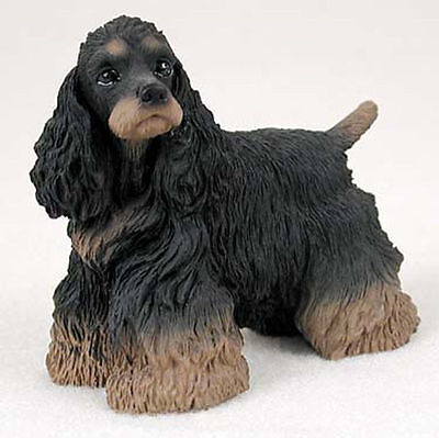 Cocker Spaniel Figurine Hand Painted Collectible Statue Black/Brown
