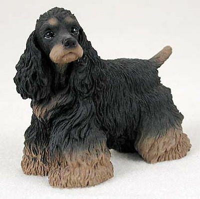 Cocker Spaniel Hand Painted Collectible Dog Figurine Statue Black & Brown