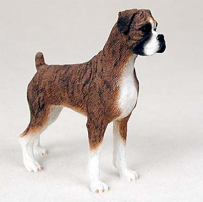 Boxer Hand Painted Collectible Dog Figurine Statue Brindle Uncropped