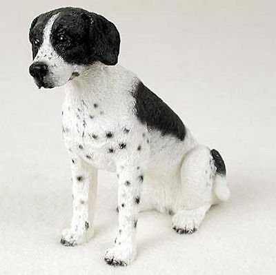 Pointer Hand Painted Dog Figurine Statue Black & White
