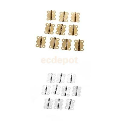 20 Silver Brass Mini Butterfly jewelry Box/Doll House/Cabinet/Drawer Butt Hinges