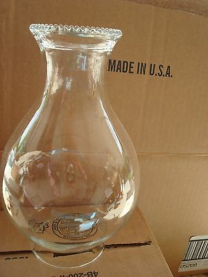 "NEW CASE (12) INDIANA GLASS 5209 8 1/2"" X 3"" CLEAR GLASS OIL LAMP LANTERN GLOBES"