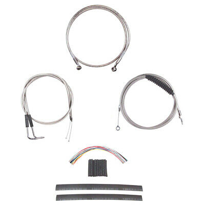 "Stainless Cable & Brake Line Cmpt Kit 14"" Apes 1990-1995 Harley-Davidson Softail"