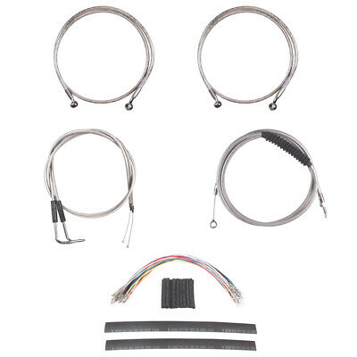 """Stainless Cable & Brake Line Mstr Kit 20"""" Apes 2011-2015 Harley Softail w/ABS"""