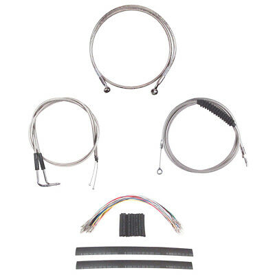 "Stainless Cable & Brake Line Cmpt Kit 12"" Apes 2011-2015 Harley Softail w/ABS"
