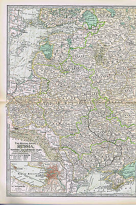 Western & Southern RUSSIA -1897 Antique Color Map