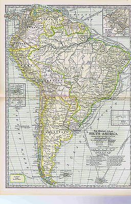 Continent of SOUTH AMERICA -1897 Antique Color Map