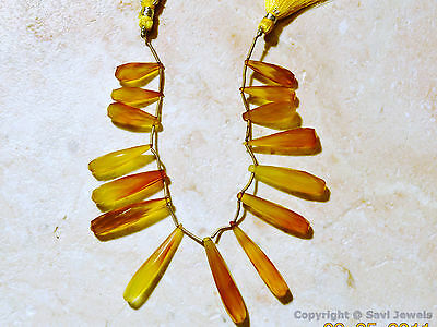 Golden Yellow CHALCEDONY 24-35mm (3 Pc Set Faceted Elongated Drop) Select-A-Size