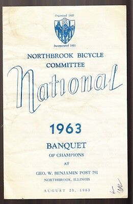 [36561] 1963 Northbrook Bicycle Committee National Banquet Of Champions Program