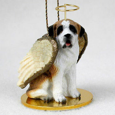 Saint Bernard Ornament Angel Figurine Hand Painted Smooth