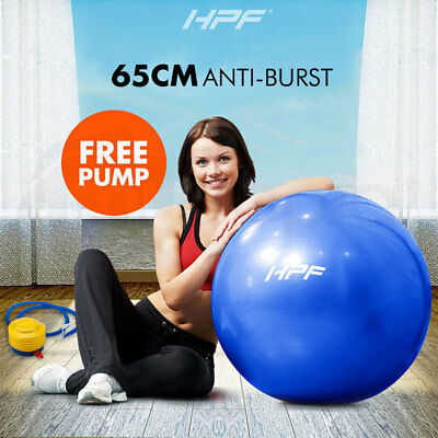 New HPF 65cm Yoga Gym Exercise Ball Pilates Swiss Fitness Workout Blue Foot Pump