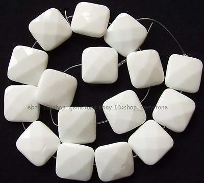 Beautiful18mm20mm 25mm30mm Square Flat Faceted White China Porcelain Loose Beads