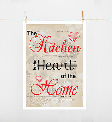 Typography Art Print on paper size A4 THE KITCHEN IS THE HEART OF THE HOME