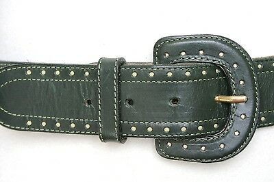 Vintage Stefanel Belt -Green leather belt - S/M