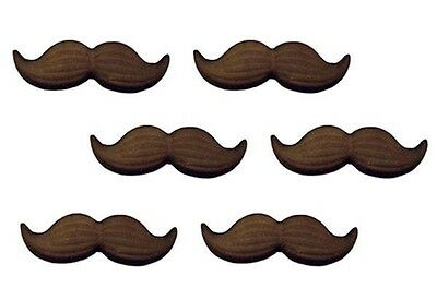 """Black Mustache 6 pc. 2"""" Icing Decorations - Sugar Layons #47053 New"""