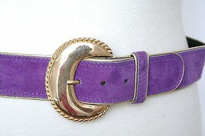 S - Vintage Escada Belt - 80s purple suede and gold leather belt