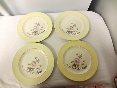 """Lot 4 K T & K (Knowles Taylor Knowles) China 7"""" Plates -Ivory S--V Wildflower"""