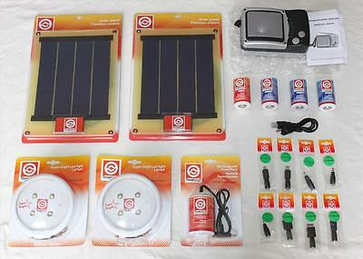 Toughstuff Solar Camping Kit - 2 Panels,2 Rechargeable Lights, Radio, USB & More