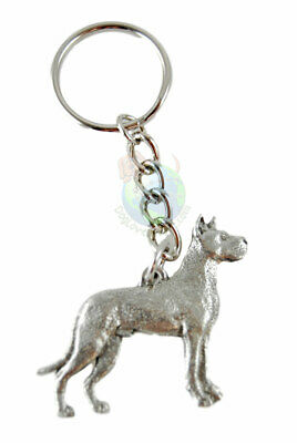 Great Dane Keychain Pewter Silver Key Chain Ring