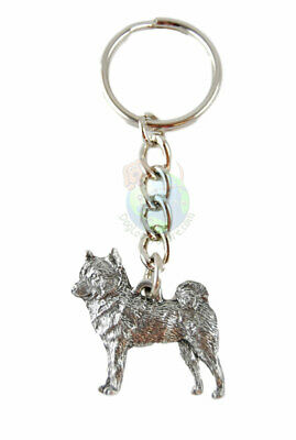 Shiba Inu Dog Fine Pewter Silver Keychain Key Chain Ring