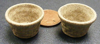 1:12 Scale Two Brick Effect Round Stoneware Pots Dolls House Flower Garden