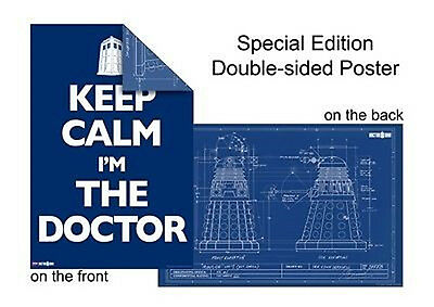 NEW Dr Doctor Who Dalek Blue Print & Keep Calm SE Double-Sided Wall Poster 61x91