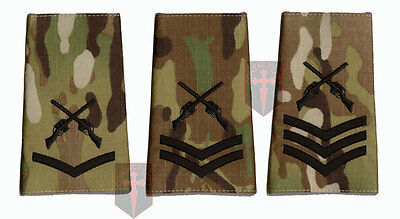 Pair Black on Multicam MTP SAA Rank Slide Skill At Arms Instructor -LCPL CPL SGT
