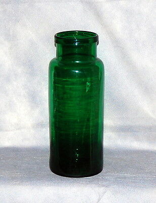 Antique Tall Mold Blow Emerald Green Glass Roll Lip Storage Jar Bubbles Lines
