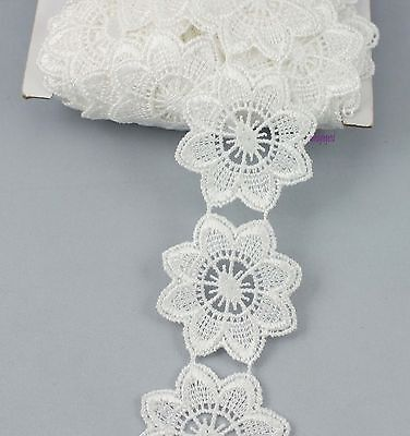 2 Yards Venise Lace Off White Fabric Polyester Sewing Embellishments Trim Craft