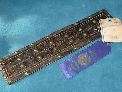 Vintage Hand Made Cribbage Board Leather & Brass No Pins