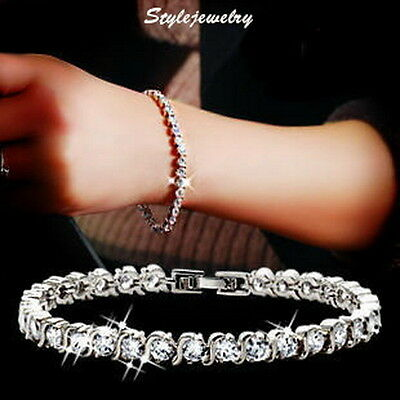 Silver Rhodium Plated Tennis Bridal Bracelet Made With Swarovski Crystal T12