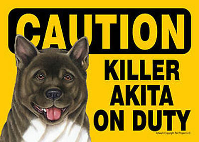 Akita Caution May Lick You To Death Dog Sign Magnet Hook & Loop Fastener 5x7
