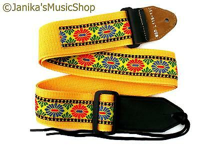 Yellow Pattern Strap For Electric/acoustic Guitar 115N New Nylon Web 50Mm Wide