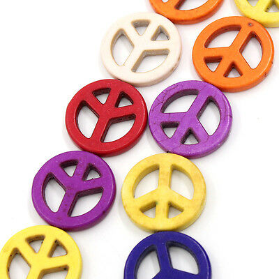 1 Strand Mixed Colour Turquoise Peace Symbol Beads 25mm Approx 16pcs Howlite T75