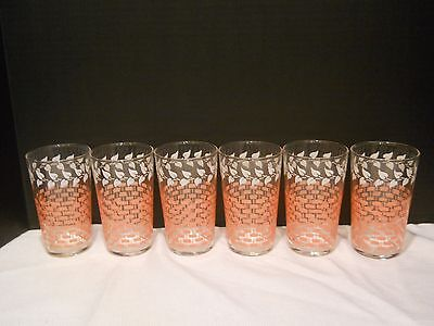 Six Federal Glass Co. 1950s glasses pink lattice basketweave white ivy design