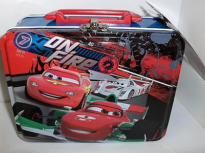 Disney Pixar Cars-Piston Cup On Fire`Metal Lunchbox`New With Tag->Free To US