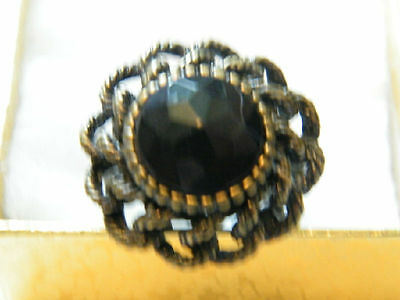 Beautiful Antiqued Brass Tone Cocktail Ring Chuncky Black Rhinestone Size 8 WOW