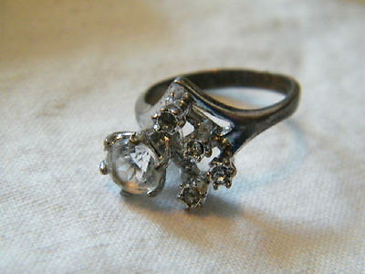 Beautiful Silver Tone Cocktail Ring Sign 12KTHGE Clear Raised Rhinestones Size 5