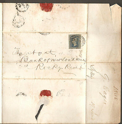 1856 QV 2d Blue Imperf Postal Entire Bank of NSW Rocky River Tamworth & Wax Seal